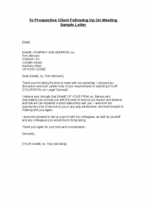 sample termination letter without cause to prospective client following up on meeting sample letter