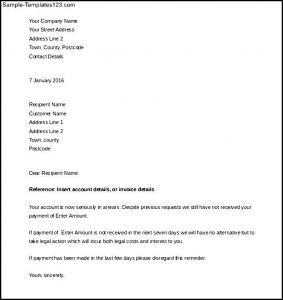 sample thank you email debt collection day legal letter template download