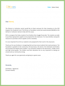 sample thank you letter for donation sample thank you letter for donation to school