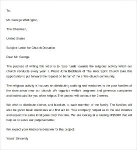 sample thank you letter for donation to church sample donation letter format example