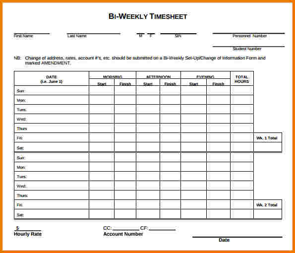sample time sheet