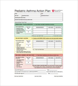 sample treatment plan pediatric asthma action plan pdf download