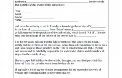 sample vehicle bill of sale bill of sale for car format