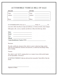 sample vehicle bill of sale car bill of sale