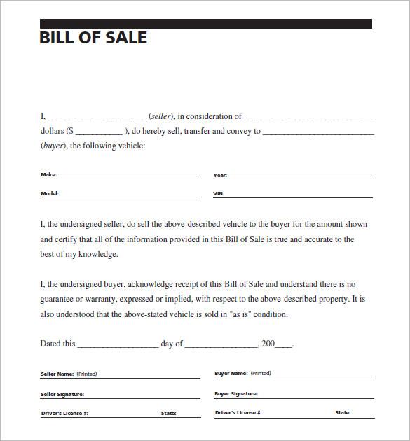 sample vehicle bill of sale