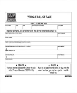sample vehicle bill of sale motor vehicle bill of sale form