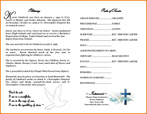 sample wedding program obituary format