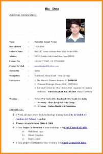 samples executive resumes bio data sample biodata