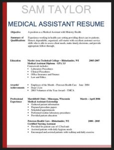 samples executive resumes entry level medical assistant resume