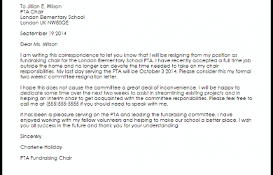 samples fundraising letters committee resignation letter
