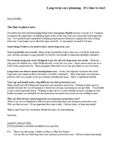 samples fundraising letters sample long term care letter