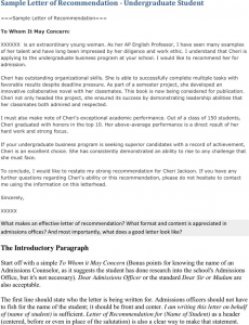 samples hardship letter sample letter of recommendation for undergraduate student