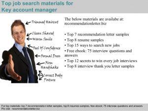 samples of letter of recommendation key account manager recommendation letter