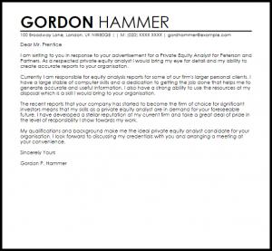 samples of letter of recommendation private equity analyst