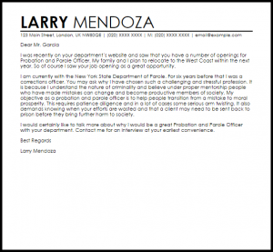 samples of letter of recommendation probation and parole officer