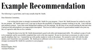 samples of letters of recommendation recommendation letter