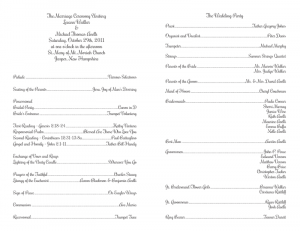 samples of wedding programs catholic wedding ceremony program template new