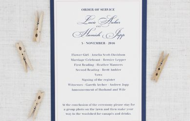 samples of wedding programs navy blue and blush pink wedding order of service