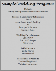 samples of wedding programs program