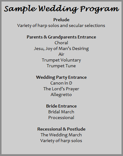samples of wedding programs
