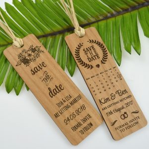 save the date bookmarks wooden save date bookmark