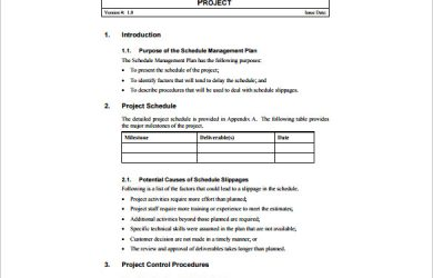 schedule management plan project schedule management plan free pdf template