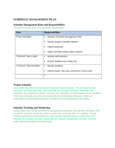 schedule management plan schedule management plan template
