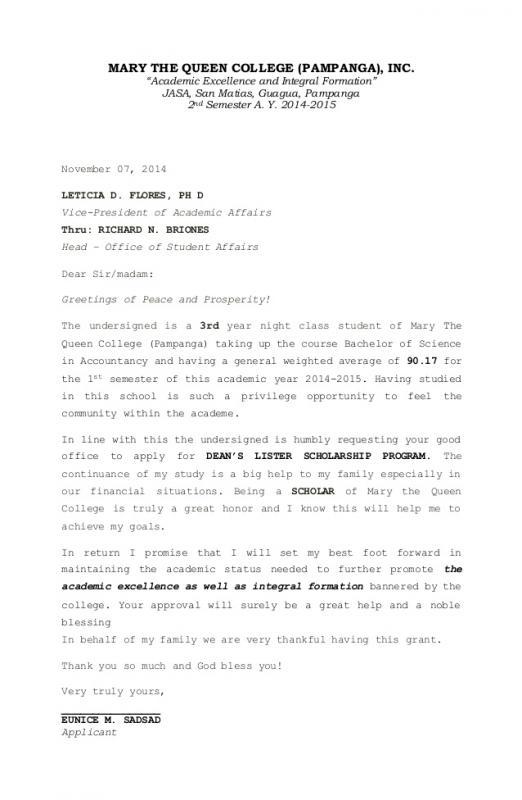 scholar letter sample