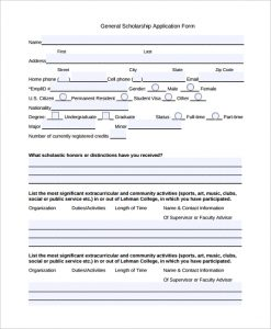 scholarship application form general scholarship application form
