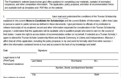 scholarship application form sample scholarship application form free download