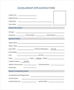 scholarship application form scholarship application form