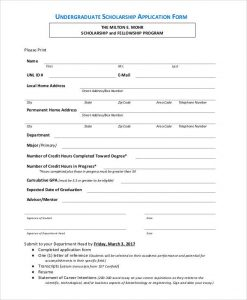 scholarship application form undergraduate scholarship application form