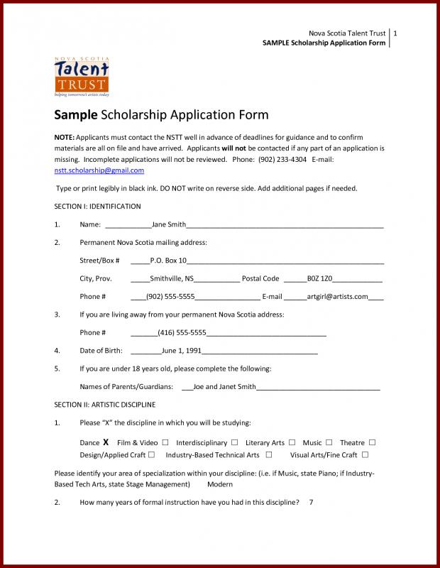 scholarship application letters