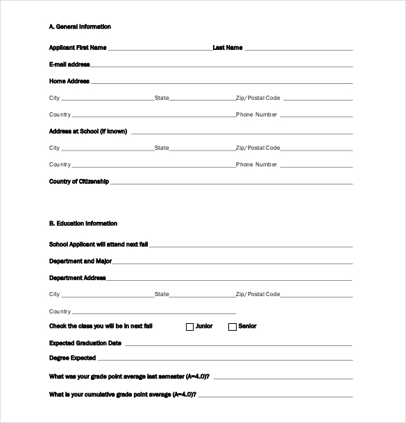 Scholarship Application Template  Template Business
