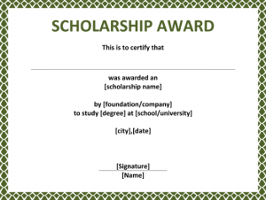 scholarship certificates templates free scholarship award certificate x