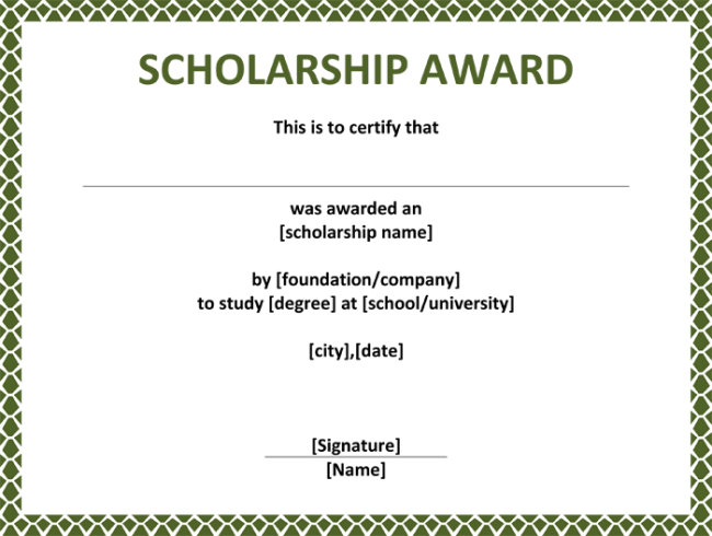 Scholarship certificates templates template business scholarship certificates templates yadclub Images