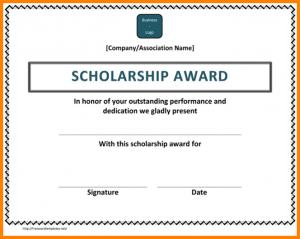 scholarship certificates templates - Memorial Scholarship Certificate Template