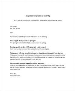 scholarship letter sample application for scholarship letter template