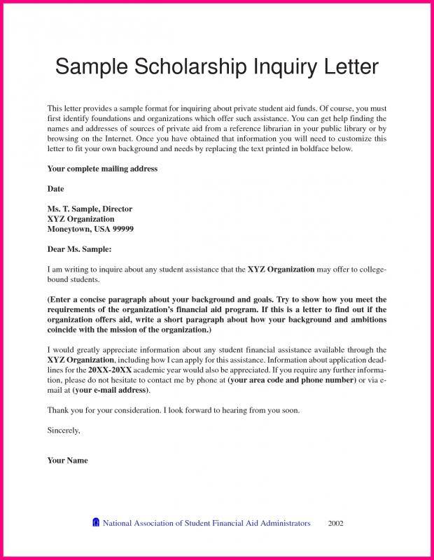 scholarship letter sample