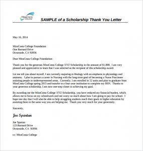 scholarship letter sample sample scholarship thank you letter format