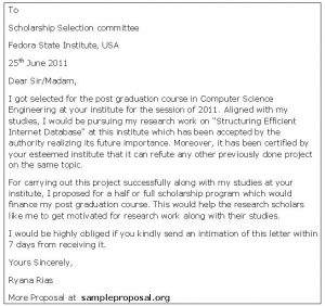 scholarship letter sample scholarship proposal letter