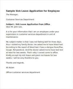scholarship letter samples sick leave application letter