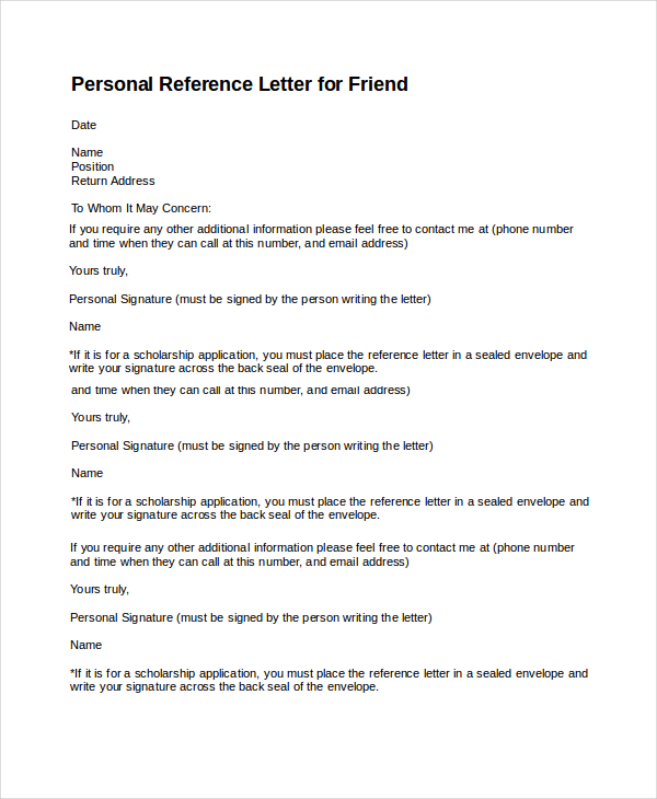 Template For Personal Reference Letter   North.fourthwall.co  Personal Recommendation Letters
