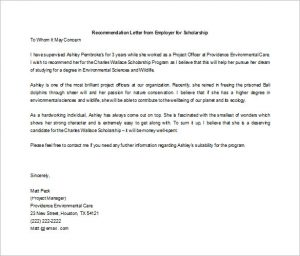 scholarship recommendation letter letter of recommendation for scholarship from employer word doc