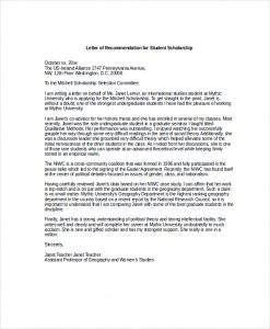 scholarship recommendation letter letter of recommendation for student scholarship