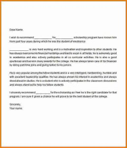 scholarship recommendation letter sample letter of recommendation for scholarship sample letter of recommendation for scholarship