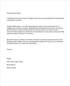 scholarship recommendation letter scholarship recommendation letter format