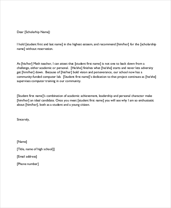Recommendation Letter For A Student Award