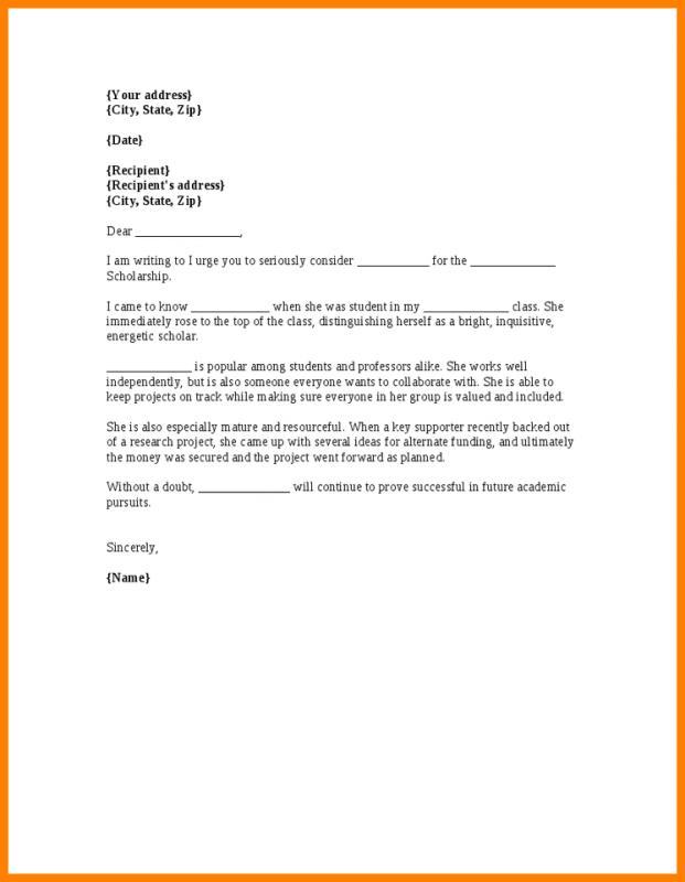 Scholarship Recommendation Letter  Template Business