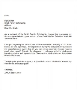scholarship thank you letters medical school scholarship thank you letter